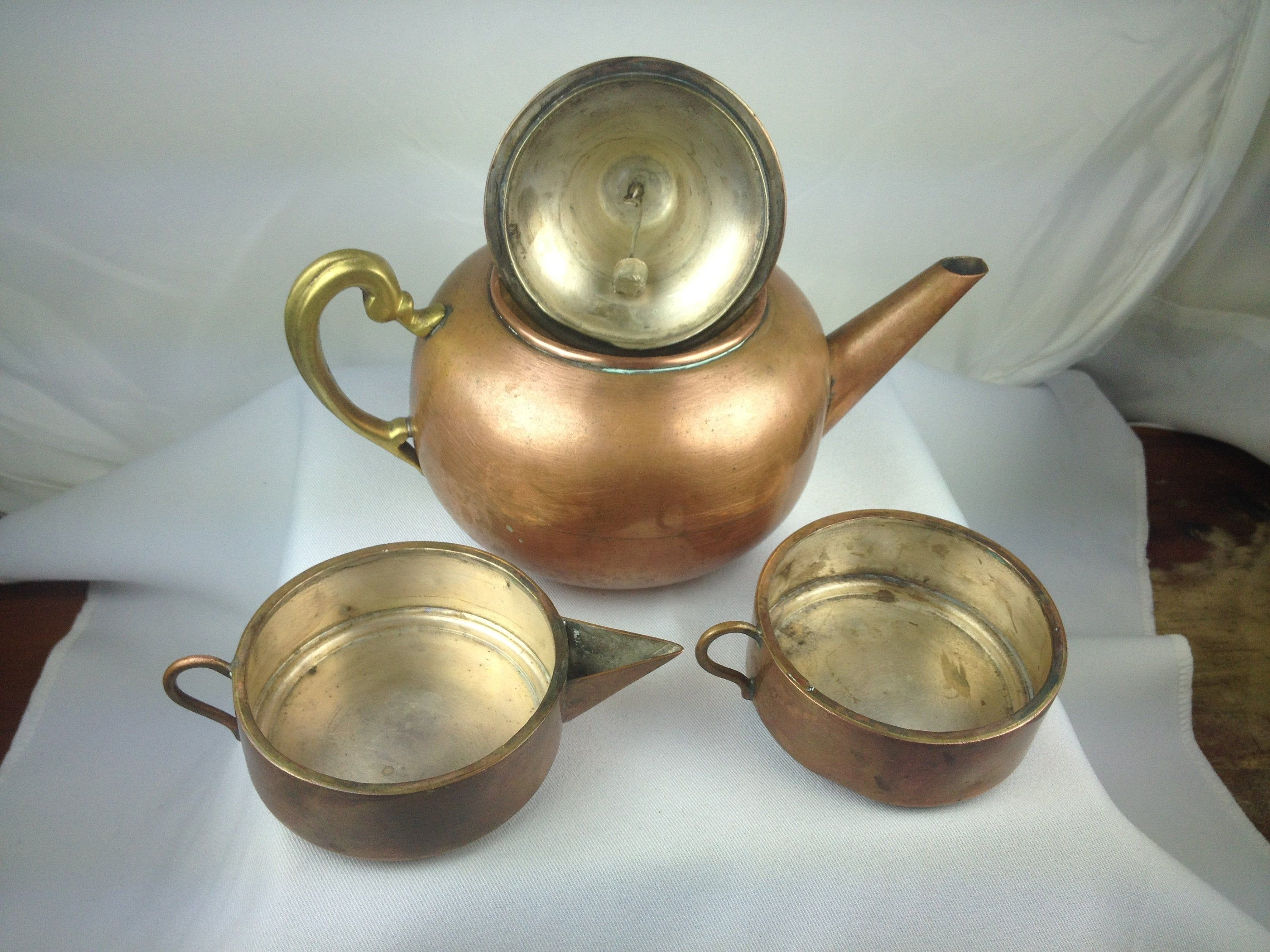 Vintage Copper /& Brass Teapot with Fitted Creamer Cup and Bell