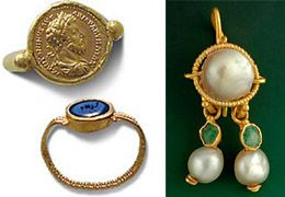gold, pearl and emerald earring...Pearls from the Persian Gulf were a popular gemstone used in ancient Roman jewelry, which were combined with emerald and peridot from Egypt, and carnelian, jasper, lapis lazuli, and onyx from Persia...Toward the fall of the Roman Empire exotic gems from India and the Far East were plentiful, including blue sapphire and topaz from India or Sri Lanka.