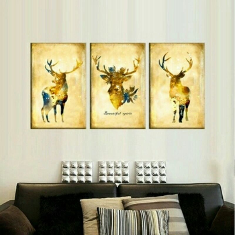 Rustic 3 Piece Deer Silhouette Canvas Wall Decor Set | Canvas wall ...