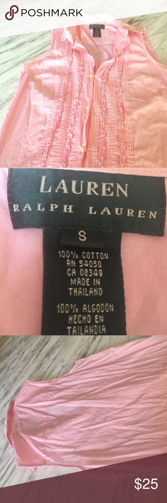 🌷Lauren by Ralph Lauren pink sleeveless top Lauren by Ralph Lauren pink sleeveless top size small Lauren Ralph Lauren Tops Button Down Shirts