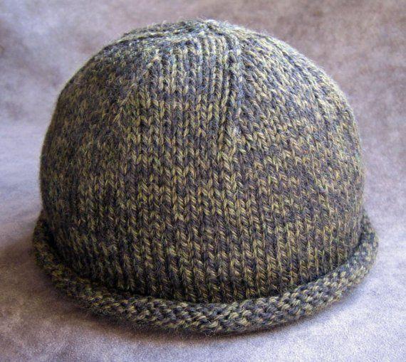 Pattern Rolled Brim Boyfriend Hat Knit Etsy Knit Hat With Brim Knitted Hats Toddler Hat Pattern