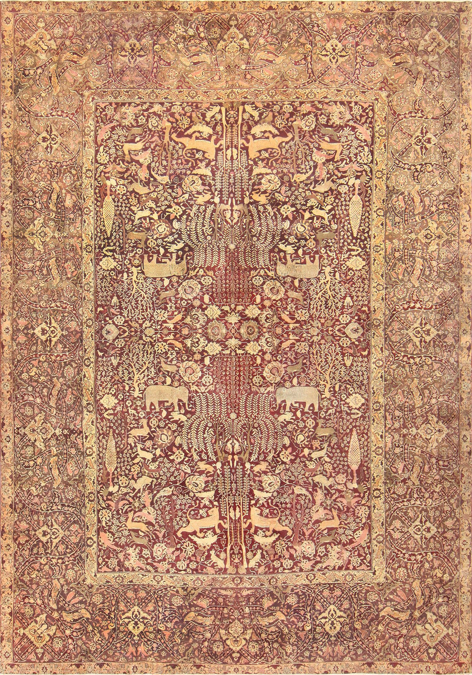 Large Red Antique Indian Agra Rug 44428