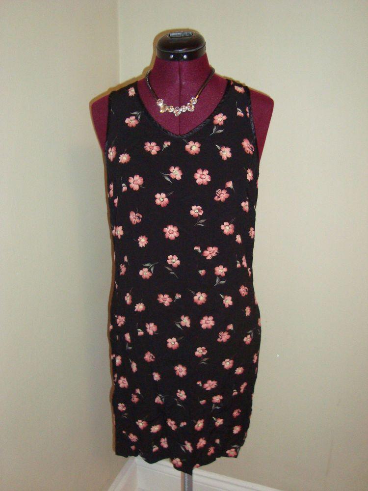 GAP Sz M Women's Black & Pink Floral Shift Dress #GAP #Shift