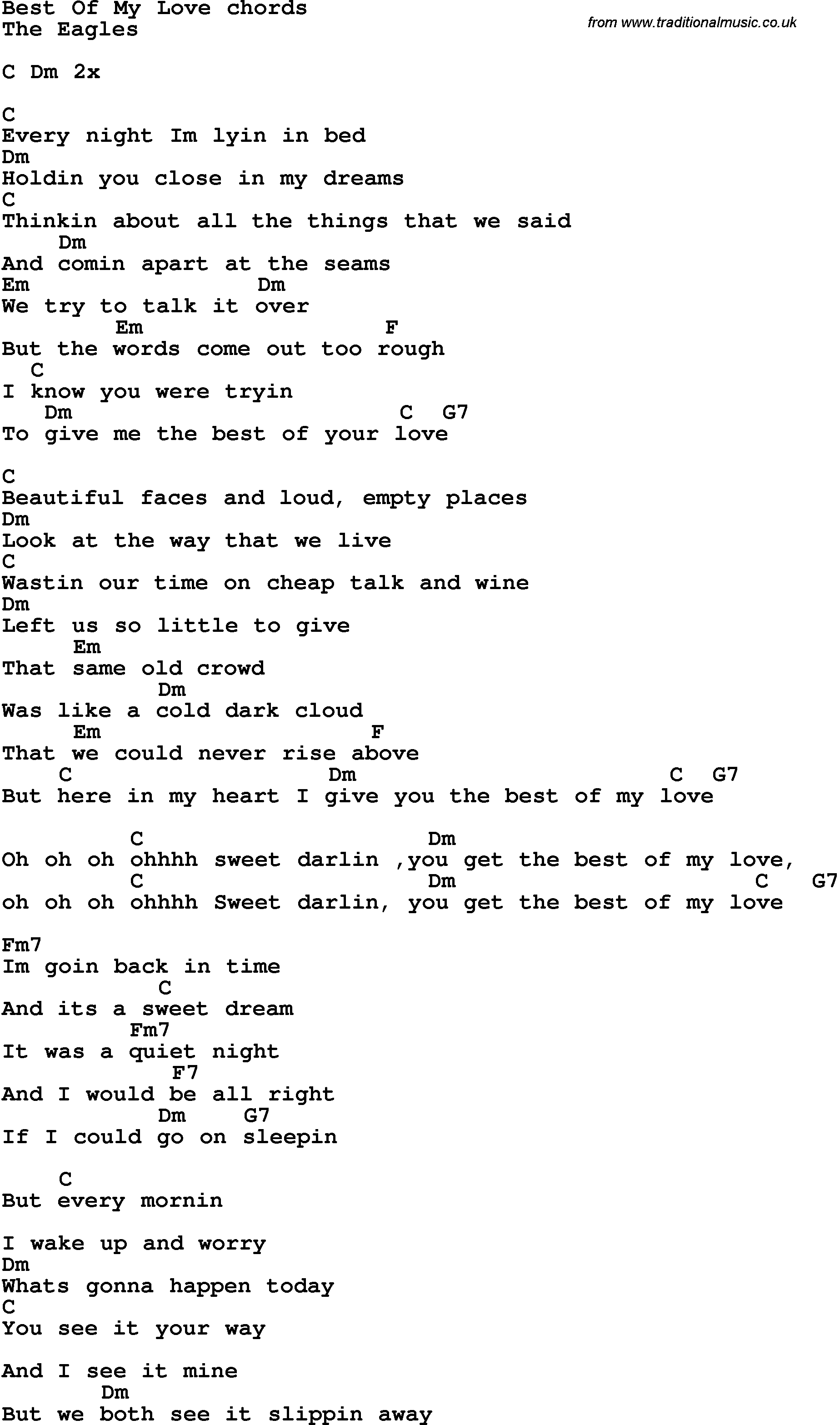 Best song lyrics download full song as pdf file for printing rock and pop song lyrics with chords for best of my love hexwebz Images