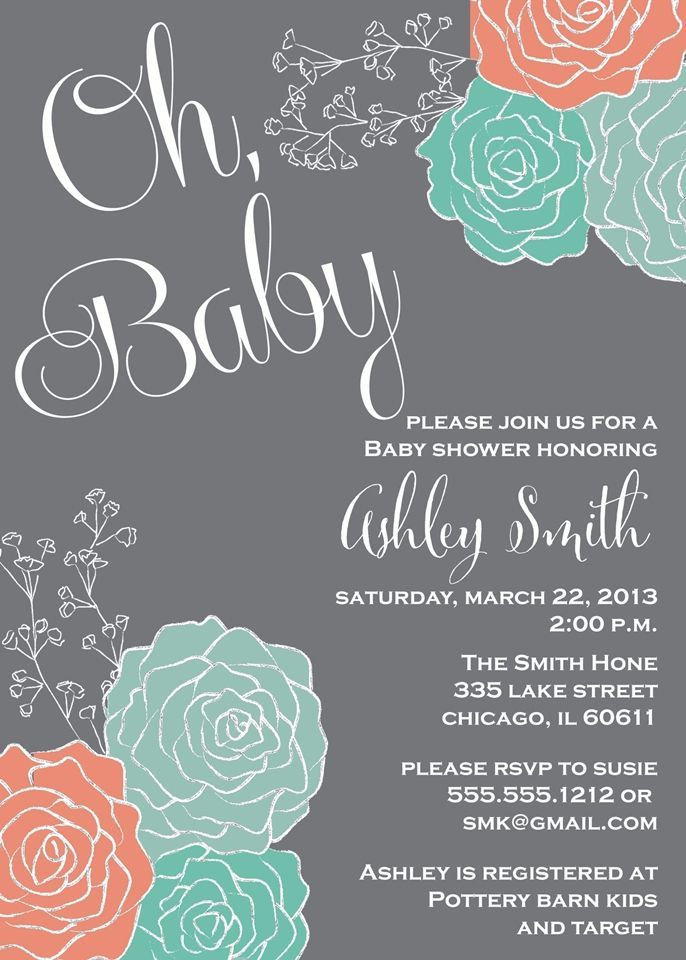 MInt and Coral baby shower invitation | Baby Shower | Pinterest ...