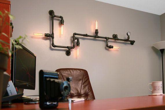 Tuyauteries industrielles de Steampunk Light - plafonnier industriel - Industrial Art - sticker - industriel bardages - Art - Bar lumière de plafond