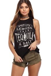 Black Yes To Tequila Top