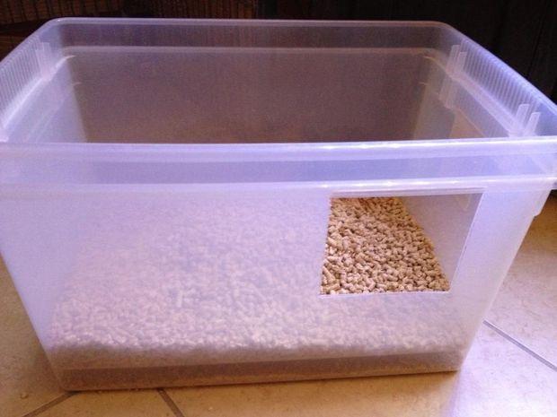 Pine Pellets Cat Litter Box Diy Litter Box Cat Litter Box Homemade Cat Litter Box
