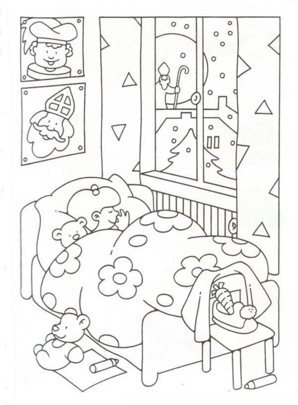 Sinterklaas Kleurplaat slaapkamer kind bed sneeuw | Winter ...