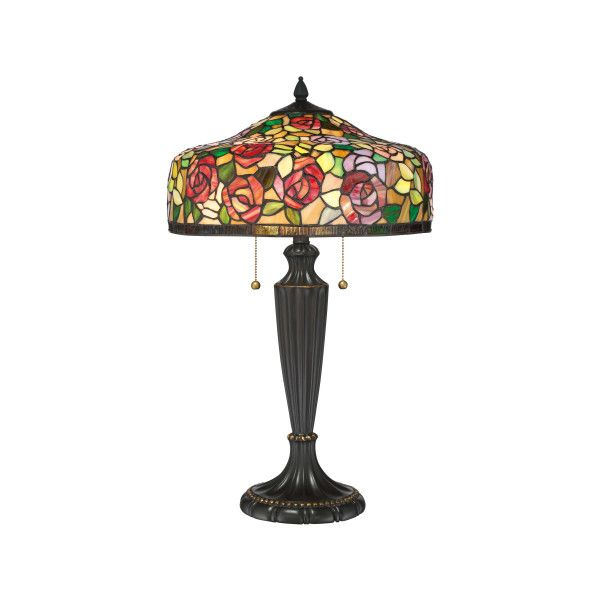 """Pull Chain Table Lamp Quoizel Tf3179T Tiffany 2 Light 2634"""" High Buffet Table Lamp With"""