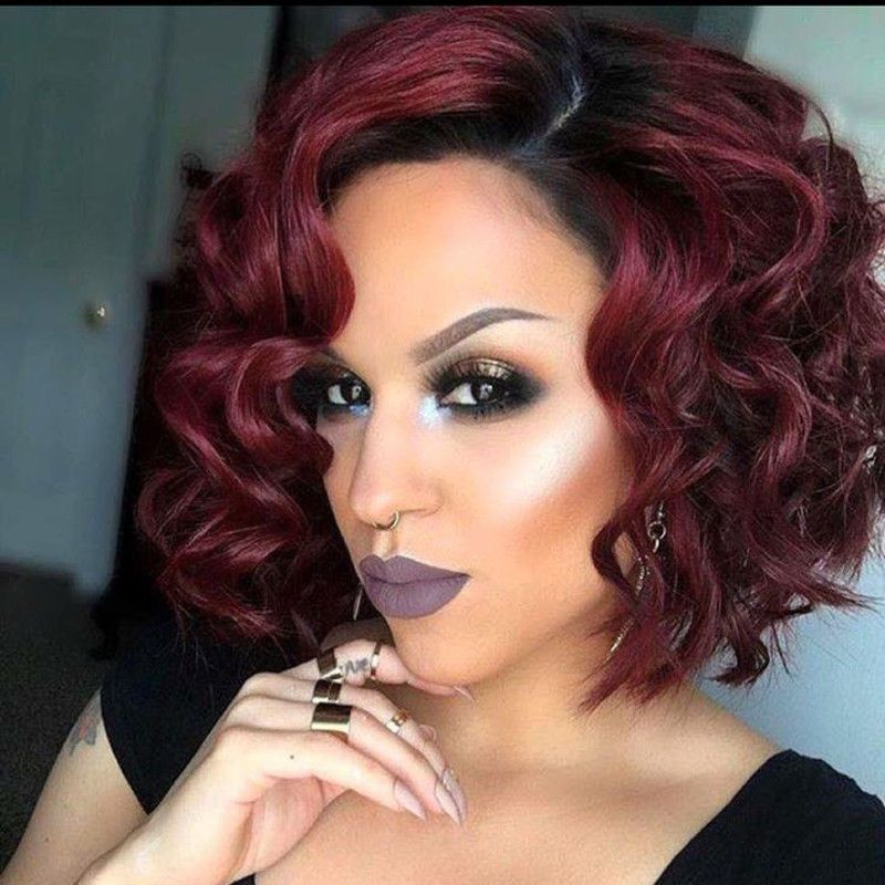 11 19 Synthetic Short Curly Bob Wig Ombre Red Side Part Wig Heat Resistant Fashion Wig Ebay Fashion Bob Hairstyles Curly Bob Wigs Curly Bob Hairstyles