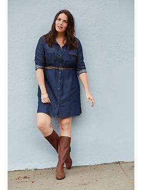 Plus Size Chambray Shirt Dress   Plus size outfits, Plus ...