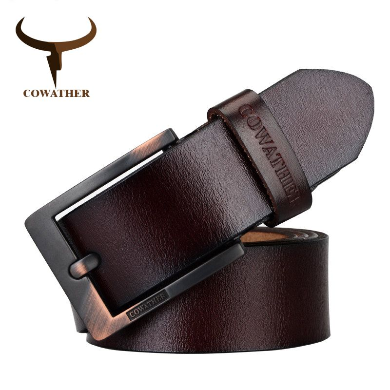 New Genuine Leather Business Mens Belt Luxury Designer Pin Buckle For Men