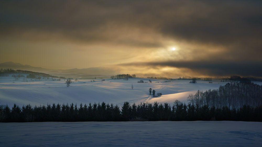 Early morning,Biei in Hokkaido,Japan.