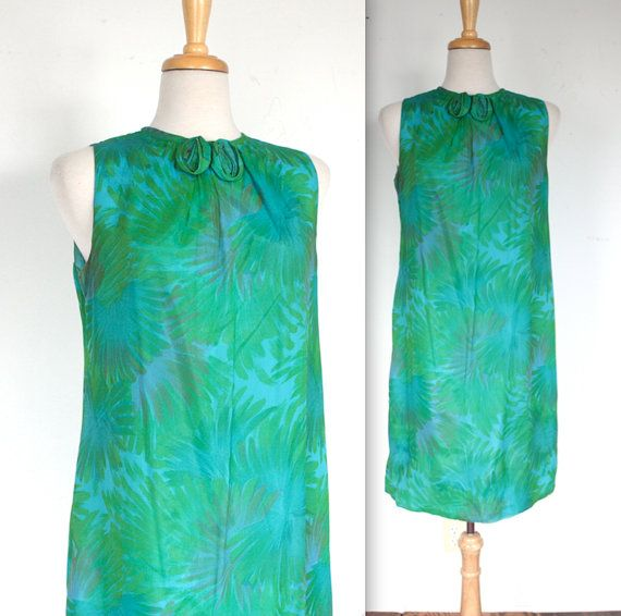 Vintage 1960's Dress // 60s Silk Chiffon Tropical Teal And