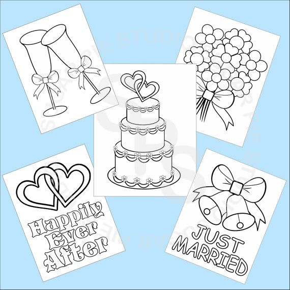 5 printable wedding favor kids coloring pages pdf or jpeg file - Kids Coloring Book Pdf