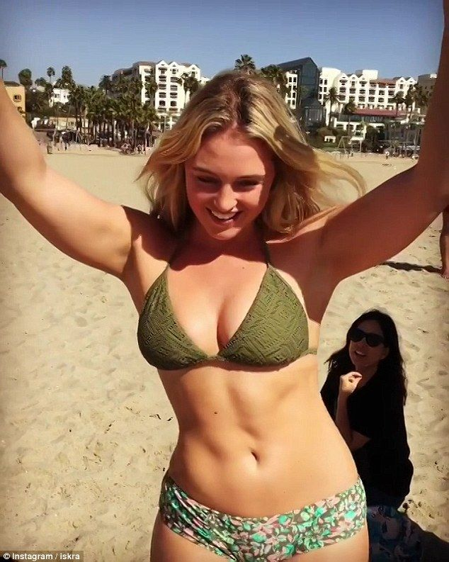 9ff89f249fb She's got it going on: Curvy catwalk queen Iskra Lawrence wore a bikini and  showed off some serious dance moves in a throwback video posted to her  Instagram ...