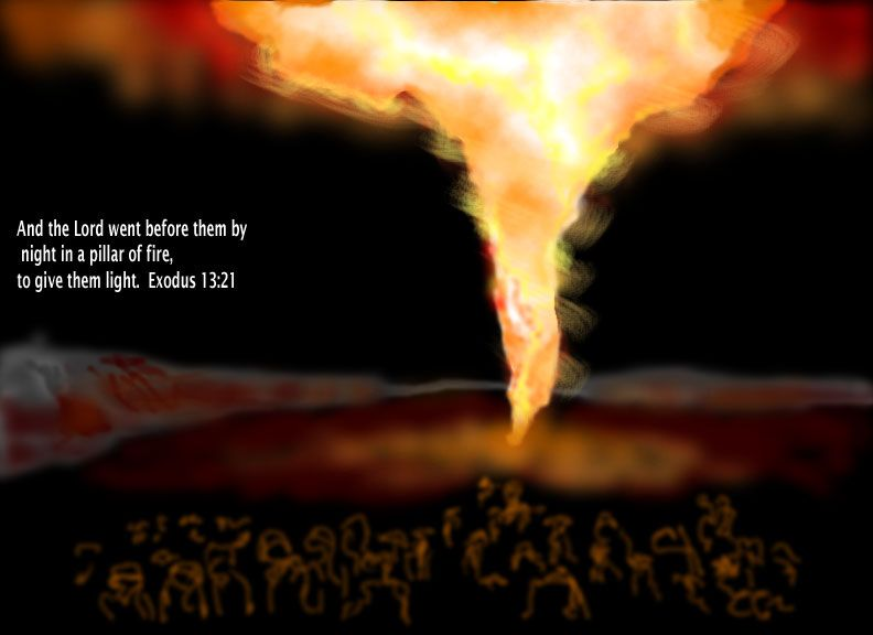 Exodus 13:21 The Lord went ahead of them. He guided them during the day  with a pillar of cloud, and he provided light at night… | Fire bible,  Pillar of fire, Exodus