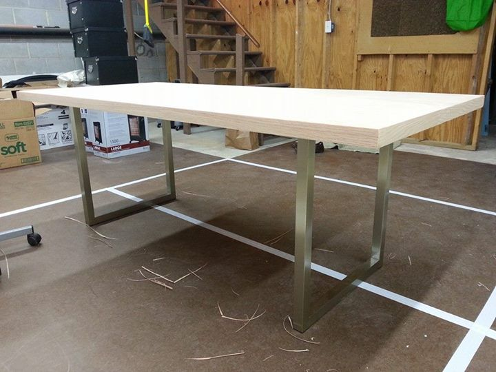 Diy Desk 1 0 Solid Core Slab Door With Iron On Veneer Sides Edges Ready For Stain The Legs Were A Craigslist Find 50 They Attached To