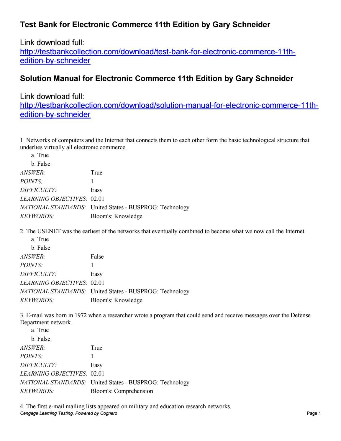 Test bank for electronic commerce 11th edition by gary schneider Website,  Electronics, Consumer Electronics