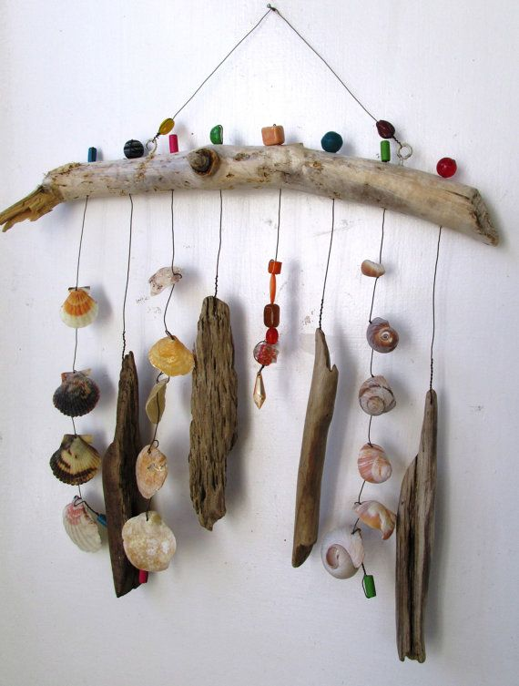 Funky Shell Bead Driftwood Windchime Mobile