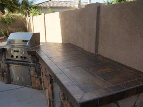 Tiled countertops home pinterest best tile for Diy outdoor bar top