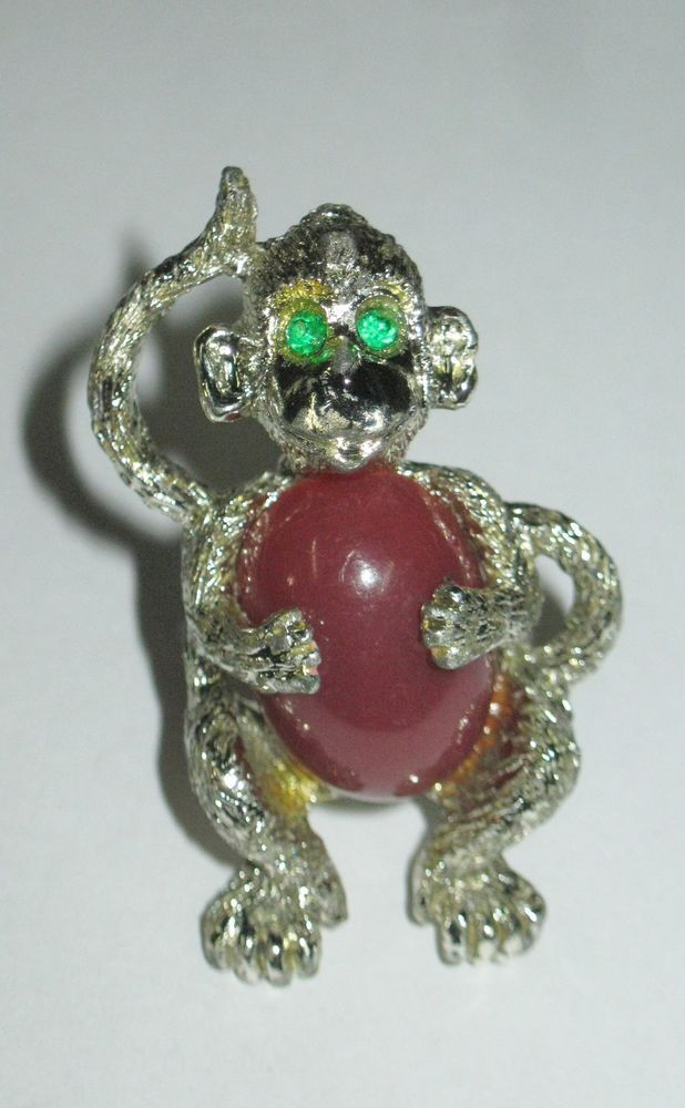 Vintage Monkey Brooch Pin Green Rhinestone Eyes Brown Stone Belly #Unbranded