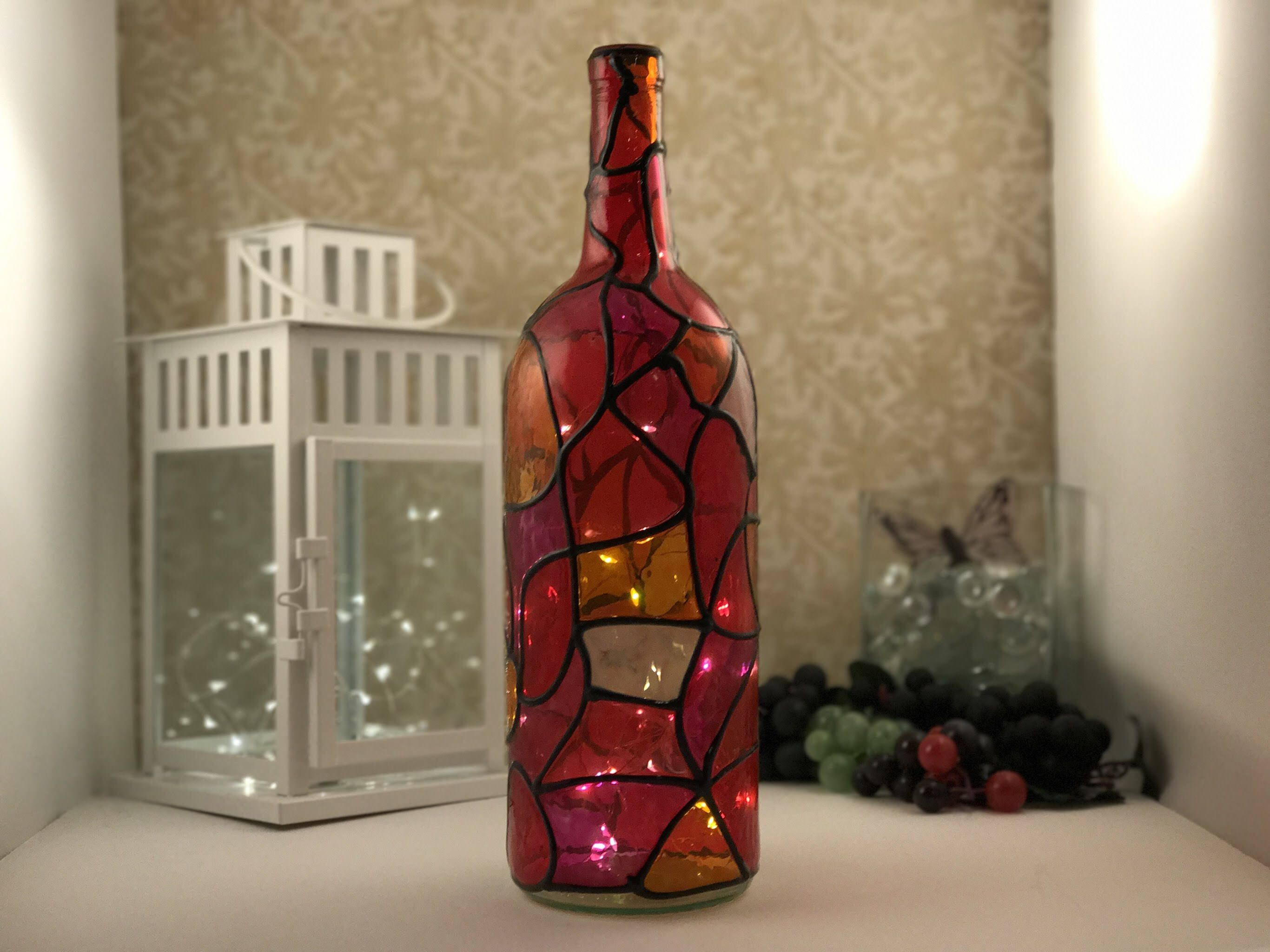 Excited To Share This Item From My Etsy Shop Shades Of Red Stained Glass Wine Bottle With Lig Bottles Decoration Light Up Bottles Multi Colored Stained Glass