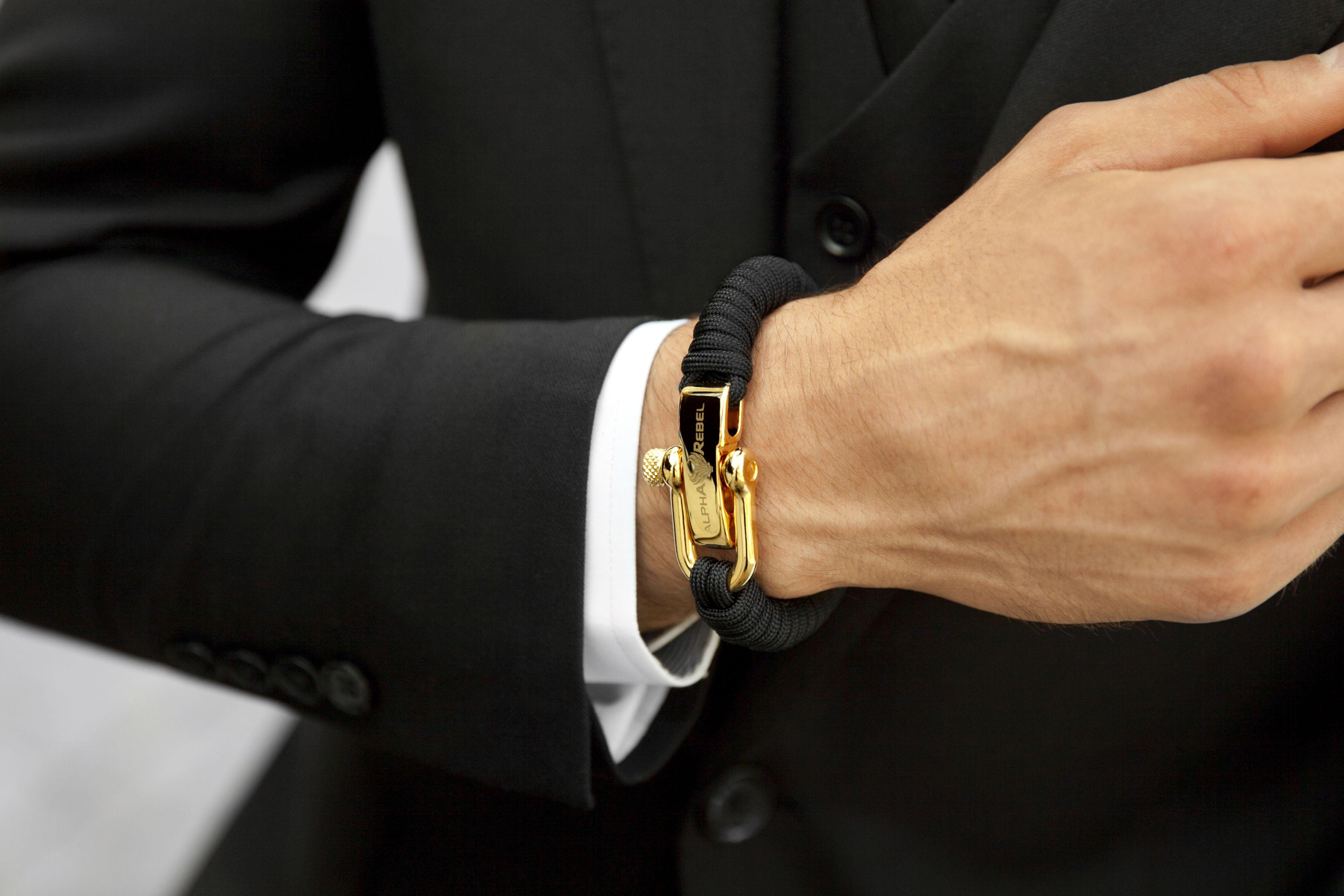 KCUF™ Slim 18K Gold / Black Paracord bracelets, Men