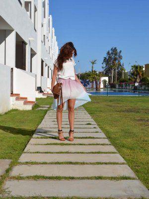 fashionaria Outfit tie dye Zapatos Zara Falda asimétrica degradé camiseta combinada Verano 2012. Cómo vestirse y combinar según fashionaria el 1-6-2012