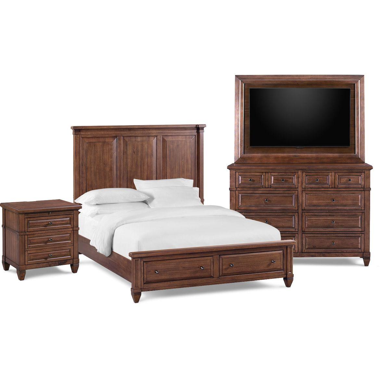 Rosalie 6-Piece Storage Bedroom Set With Nightstand