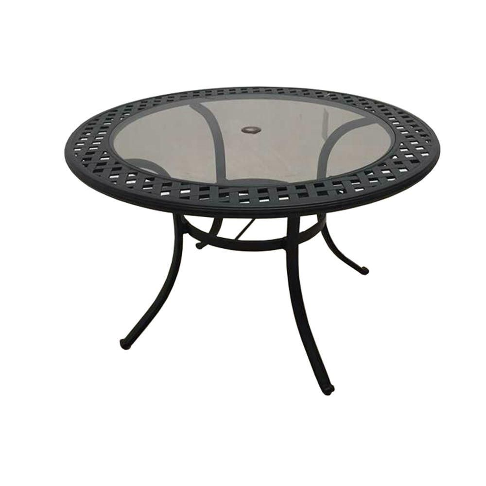 Hampton Bay Belcourt Metal Round Outdoor Dining Table-D11334-TR - The Home Depot
