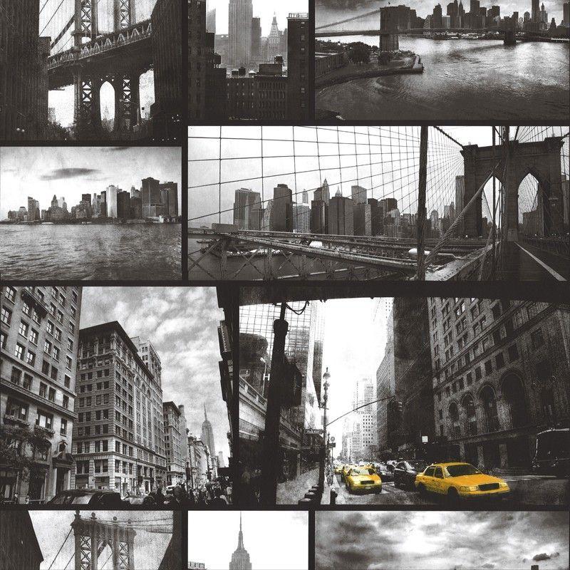 NEW RASCH PORTFOLIO NEW YORK URBAN MOTIF BLACK SILVER PRINT WALLPAPER 281507