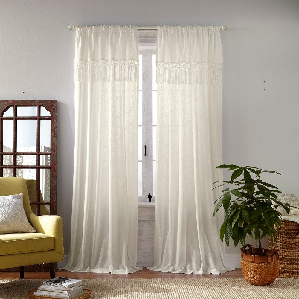 Calypso Macrame Tassel Semi Sheer Window Curtain Panel 52 X 95