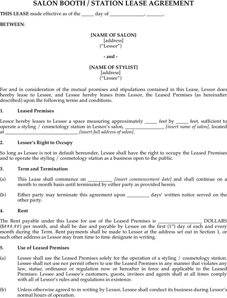 Booth Rental Agreement 1 | booth | Pinterest | Salon ideas