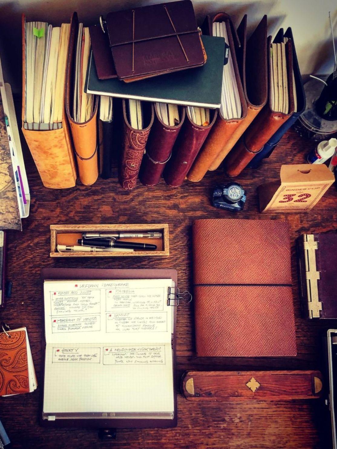 Using a travelers notebook as a planner. #travelersnotebook #notebook #journal #journaling #stationery #stationeryaddict #sketchbook #planner #artjournal #bulletjournal #onmydesk #fountainpen #startbaynotebooks