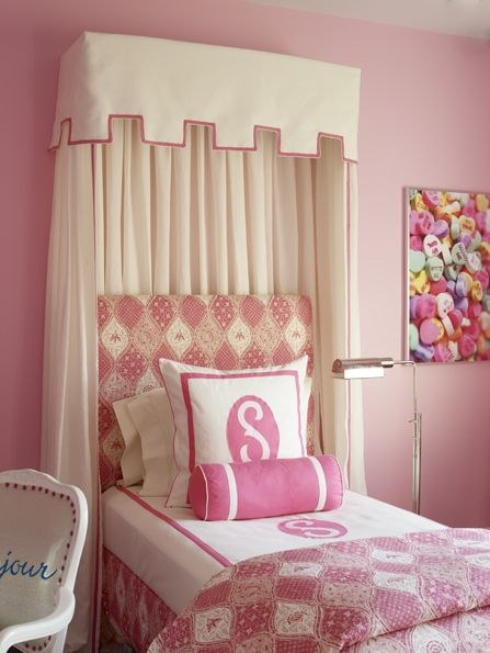 Katie by design girl 39 s rooms pink bedroom bed valance for Candy bedroom ideas