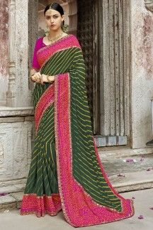 724ac486e3b733 Occasion Wear Green And Pink Color Printed Saree In Georgette Fabric ...