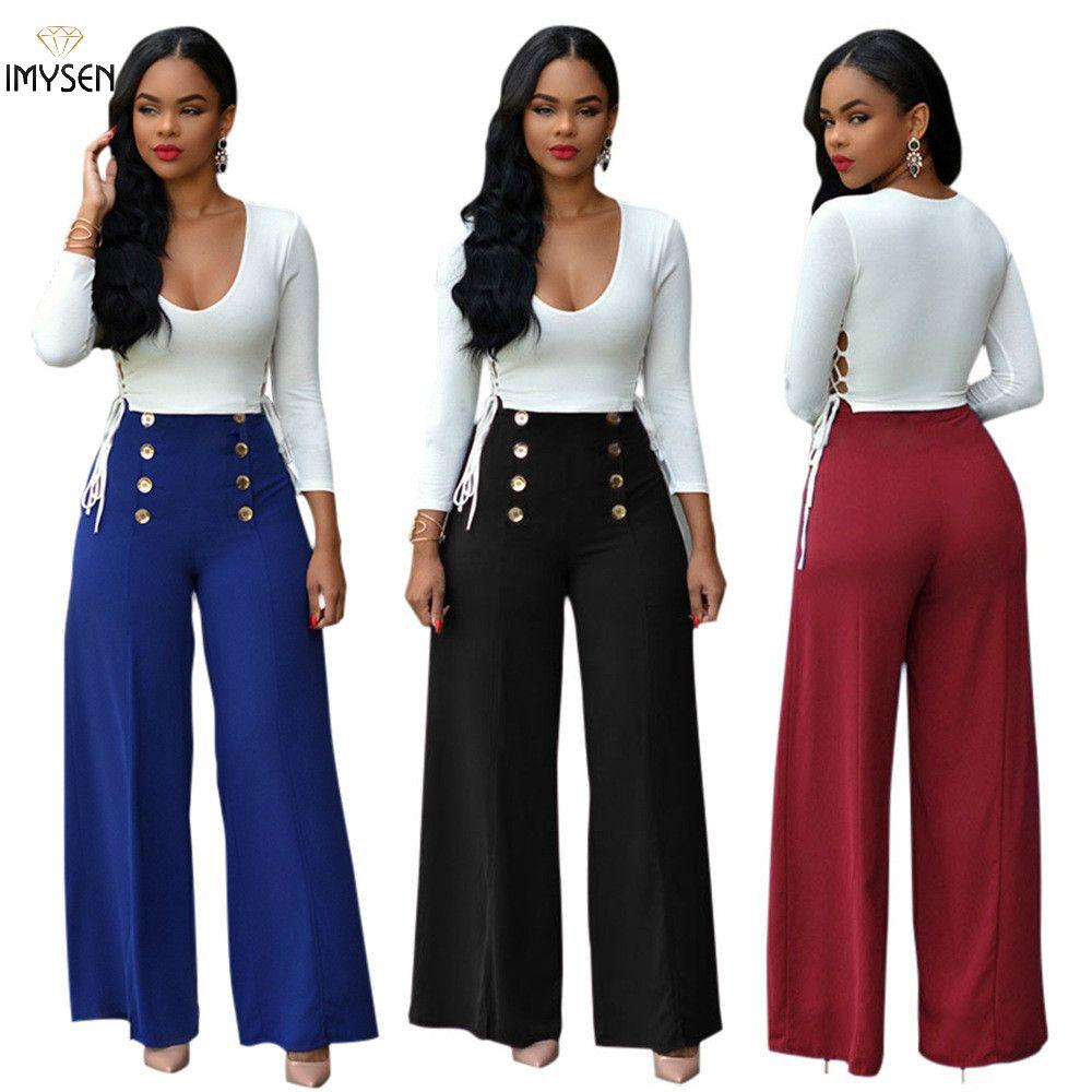 45f251391d2 Casual Women Set Fashion Sexy Tops + Long Wide Leg Pants Suit Outfit ...