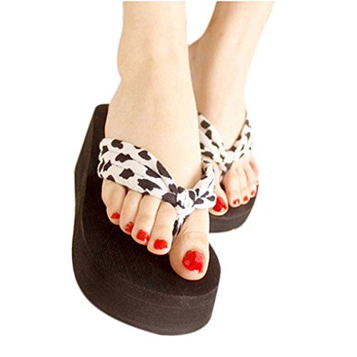 Women's Shoes Leopard SandalPlatform Wedges Girl's Flip Flops