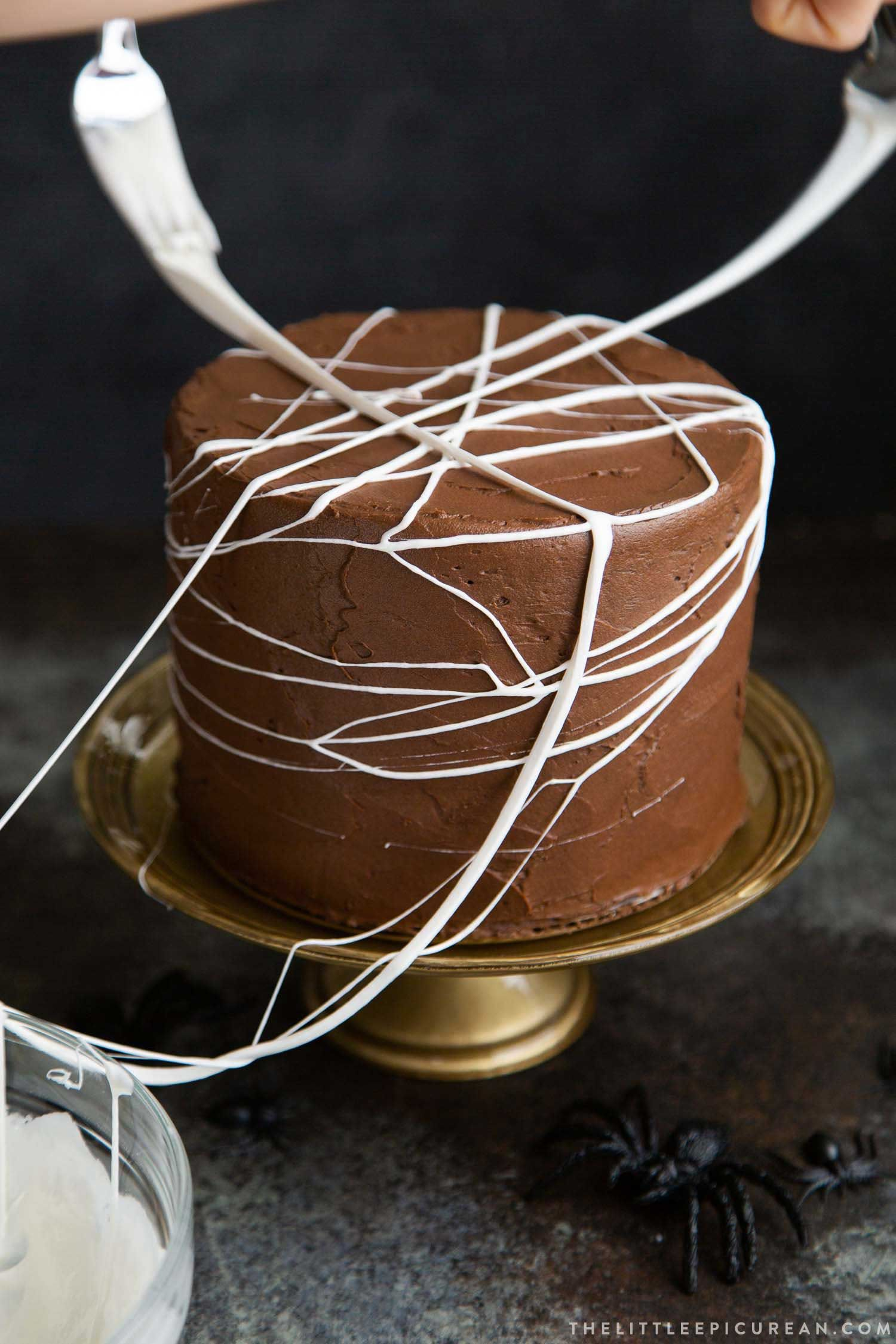 Chocolate Spider Web Cake Recipe With Images Chocolate