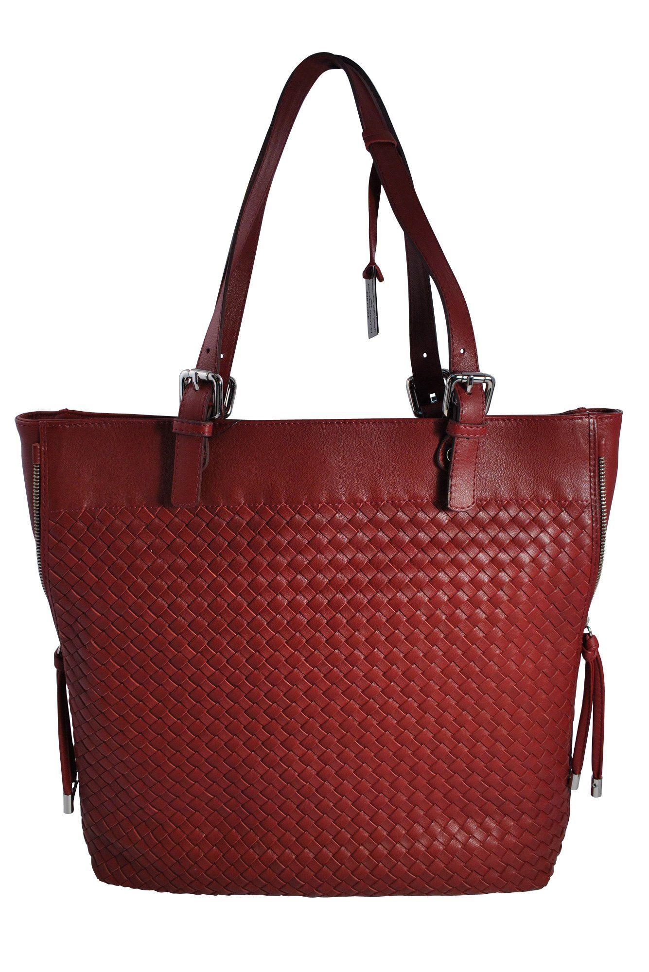 Bottega Giotti Red Burgundy Na Leather Woven Large Tote Handbag