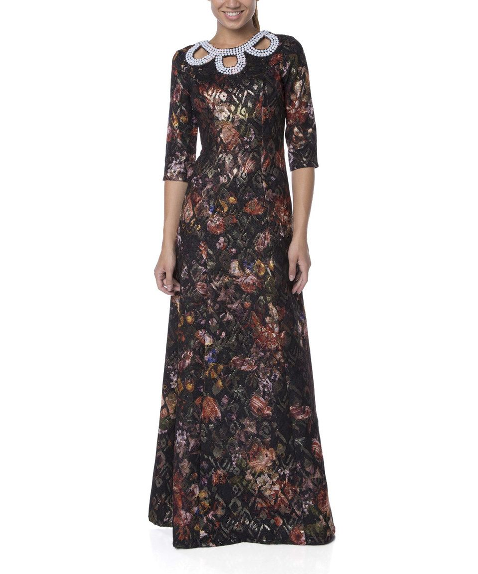 2e6a2cdfabbe This Black Floral Embellished Maxi Dress by FX Missony is perfect!   zulilyfinds