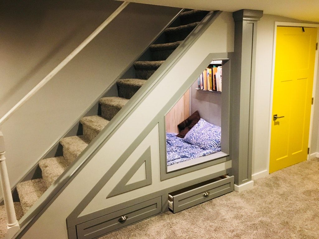 Twin Bed Under The Basement Stairs My Reading Hide Out