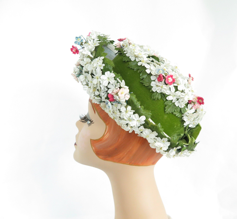 Vintage Flower Hat Woman S 1960s Breton Winkelman S Flower Hats Hats Vintage Hats