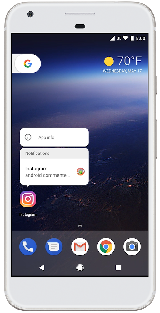 A notification long-press menu in Android O  | power | Android o