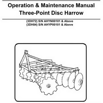 Bobcat Three-Point Disc Harrow Operation and Maintenance