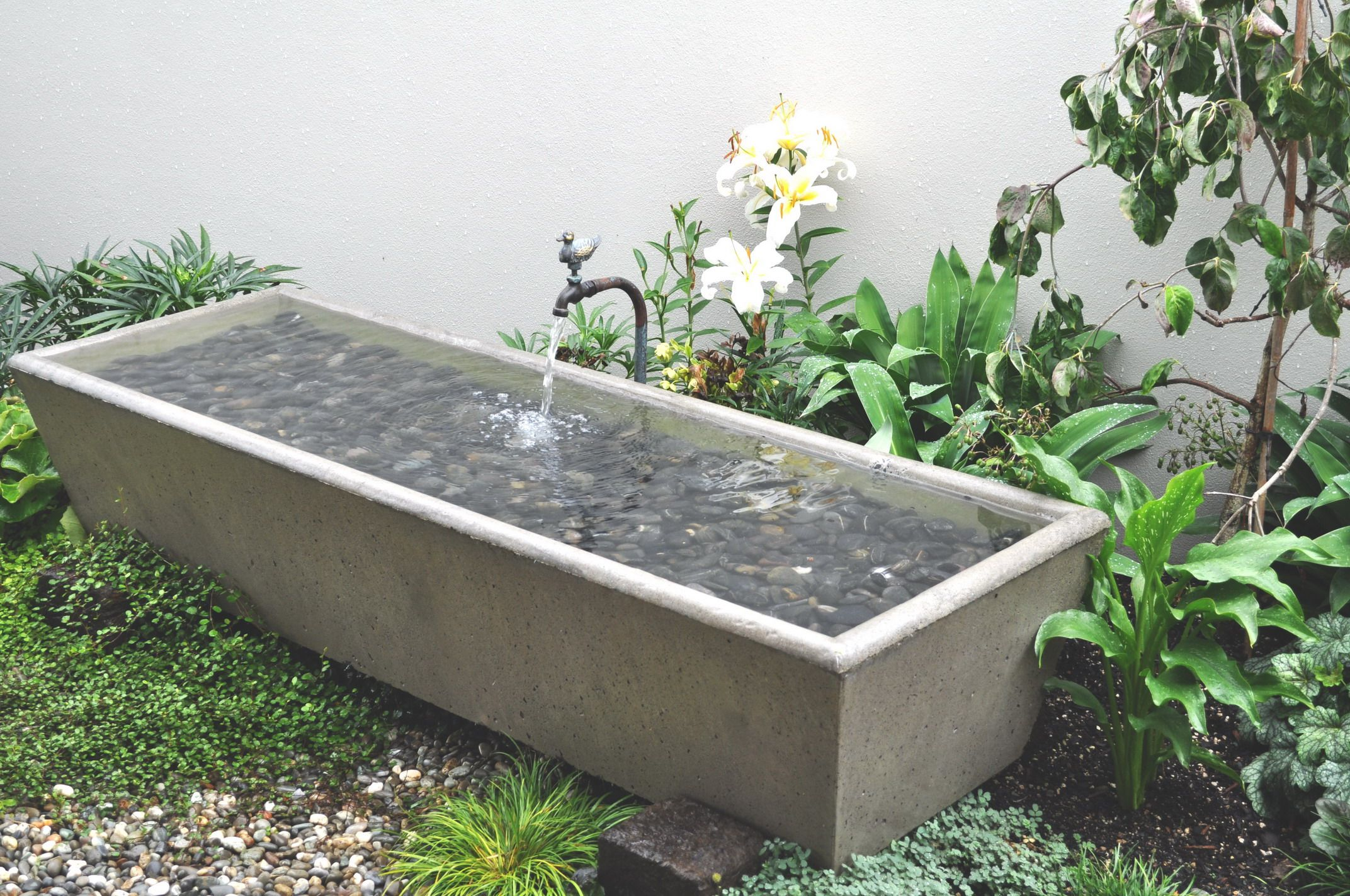 Custom made rustic concrete trough water feature for Concrete garden pond