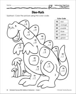 Subtracting 1-digit Numbers from 2-Digit Numbers-Dinosaur | Math ...