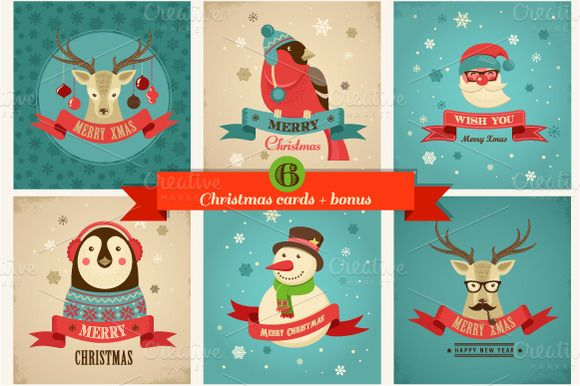 Xmas Hipster Greeting Cards Illustrations On Creative Market